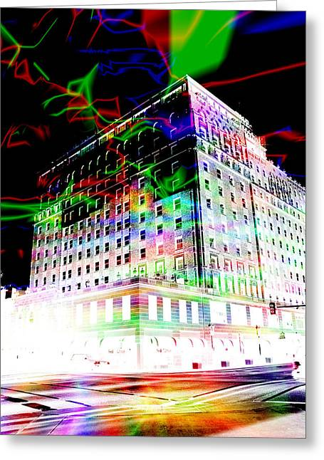 Surreal - Cityscape - Memphis Magic - The Peabody Hotel Greeting Card by Barry Jones