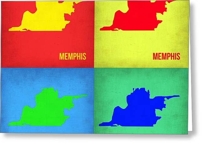 Memphis Pop Art Map 1 Greeting Card by Naxart Studio