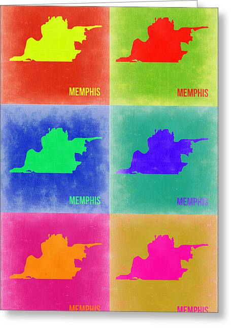 Memphis Pop Art Map 3 Greeting Card by Naxart Studio