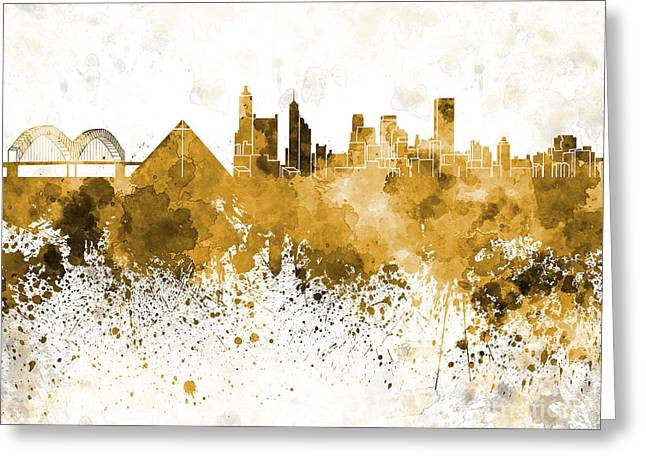 Memphis Skyline In Orange Watercolor On White Background Greeting Card by Pablo Romero