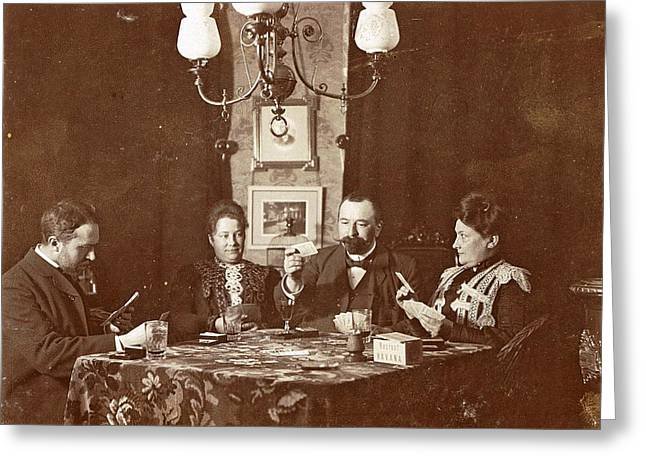 Men And Women Playing A Board Game In A Living Room Greeting Card