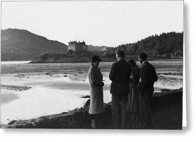 Men And Women Standing On A Bank Of A Lake Greeting Card by John Mcmullin