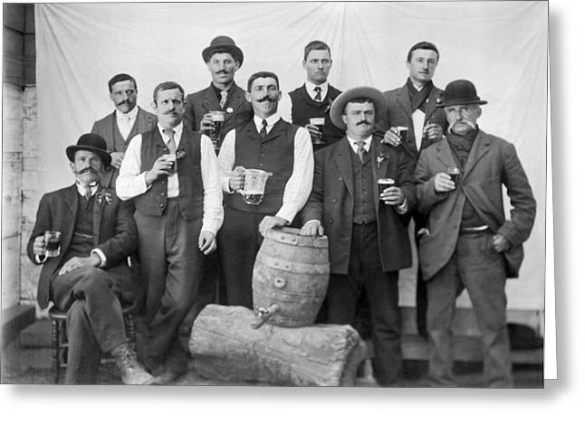 Men Around A Keg Of Beer Greeting Card by Underwood Archives