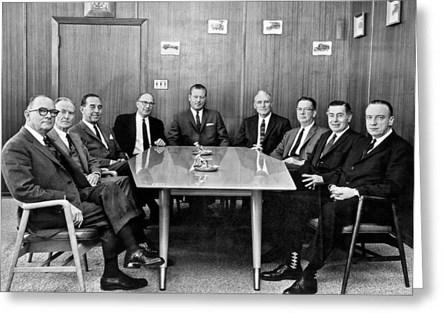 Men At A Business Meeting Greeting Card by Underwood Archives