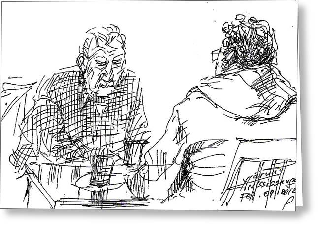 Men At The Cafe Greeting Card by Ylli Haruni