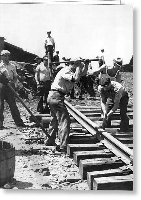 Men Laying Railroad Track Greeting Card by Underwood Archives