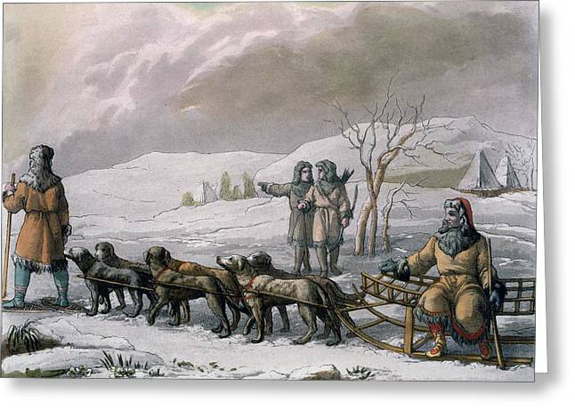 Men Of Kamchatska, With A Dog Sleigh Greeting Card by Italian School