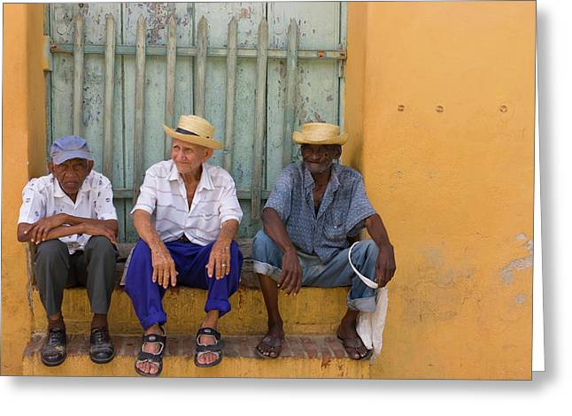 Men On The Street, Trinidad, Cuba Greeting Card