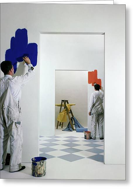 Men Painting Walls Greeting Card