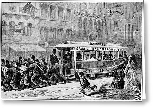 Men Pulling A Tram Greeting Card by Cci Archives