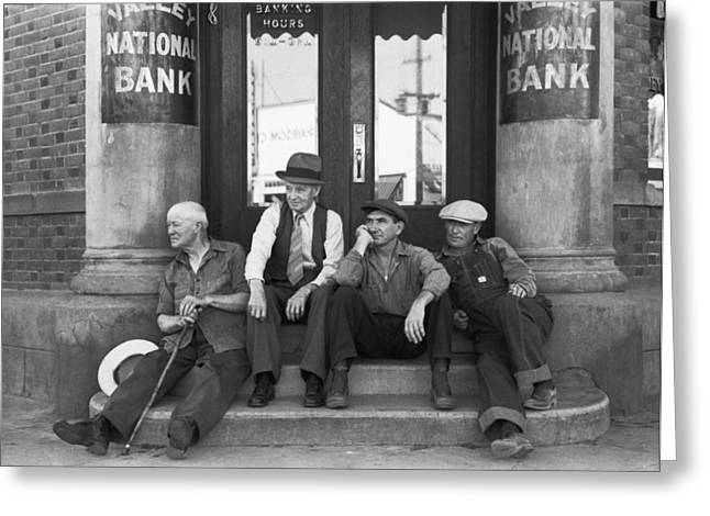 Men Sitting On Bank Steps Greeting Card