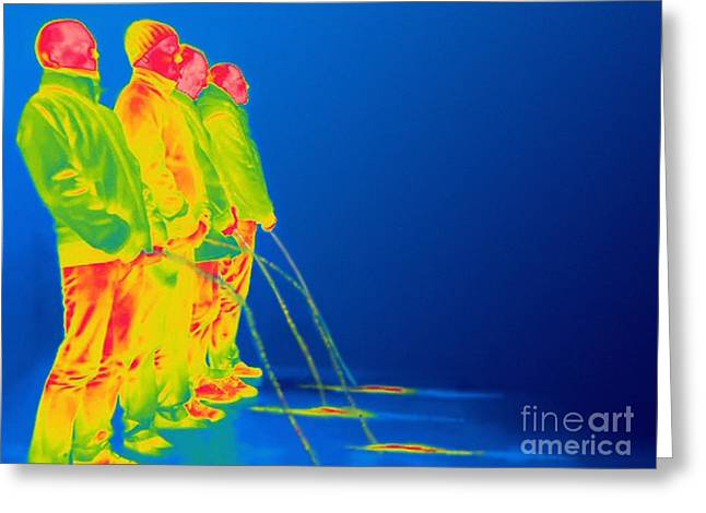 Men Urinating, Thermogram Greeting Card by Thierry Berrod, Mona Lisa Production/ Science Photo Library