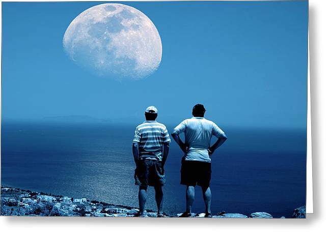 Men Watching The Moon Greeting Card