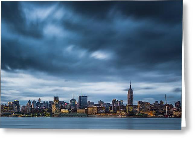 Menacing Sky Over Manhattan Greeting Card by Chris Halford