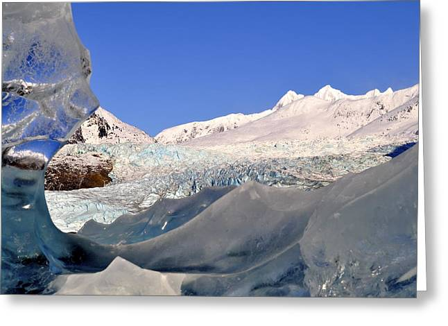 Greeting Card featuring the photograph Mendenhall Glacier Refraction by Cathy Mahnke