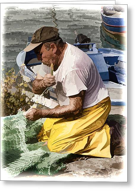 Mending The Net - Catania Sicily Greeting Card