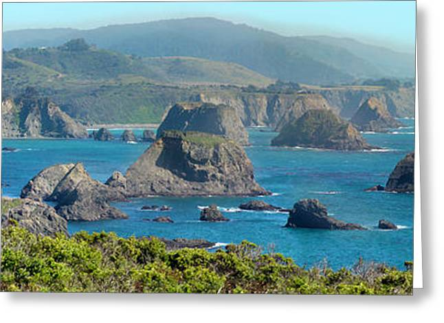 Mendocino Beautiful Blue. Greeting Card by Stan Angel