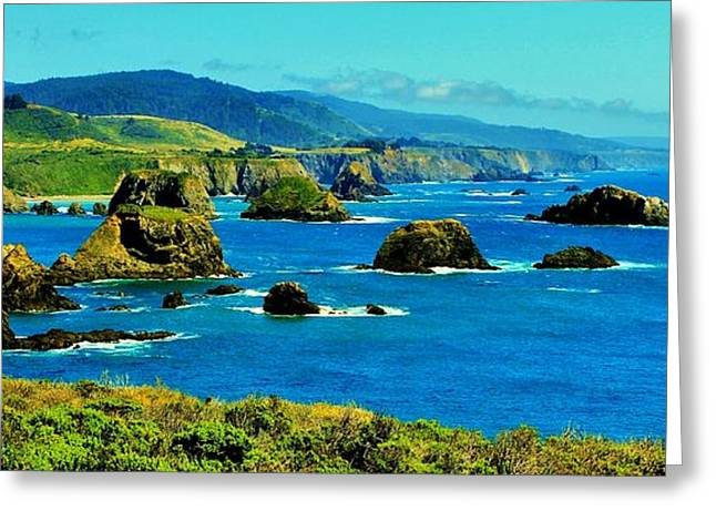 Mendocino Coast Greeting Card by Benjamin Yeager