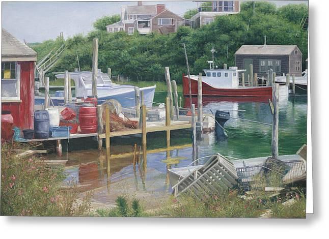 Menemsha Harbor Reds - Martha's Vineyard Greeting Card by Julia O'Malley-Keyes