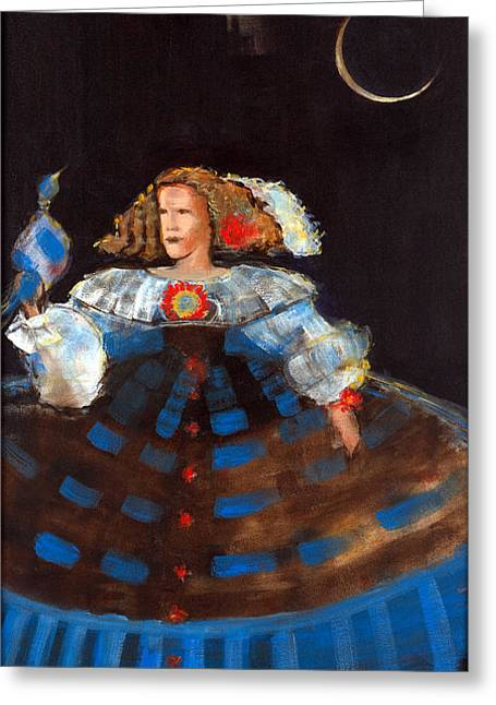 Menina And Eclipse Oil & Acrylic On Canvas Greeting Card by Marisa Leon