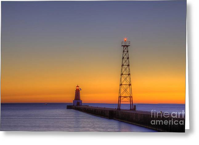 Menominee Pier At Sunrise Greeting Card