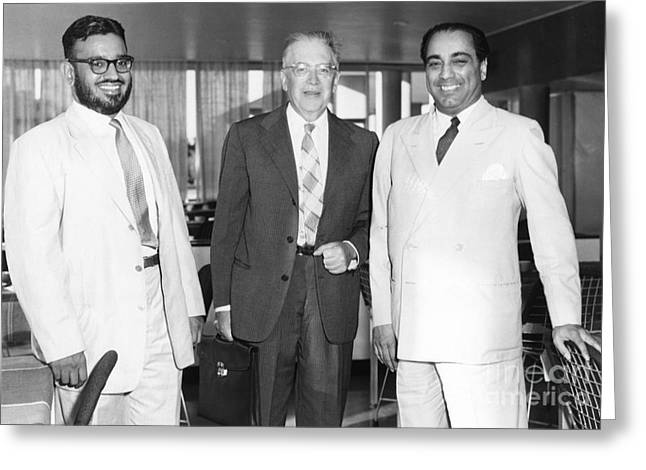Menon, Segre, Bhabha, Nuclear Physicists Greeting Card by Emilio Segre Visual Archives/american Institute Of Physics