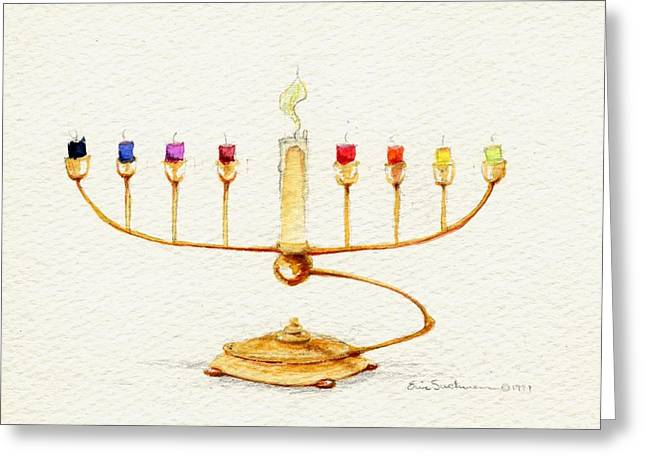 Menorah Greeting Card by Eric Suchman