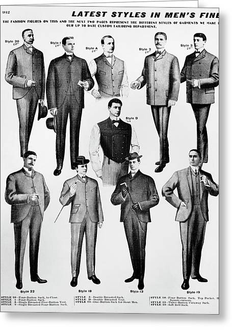 Men's Fashion, 1902 Greeting Card by Granger