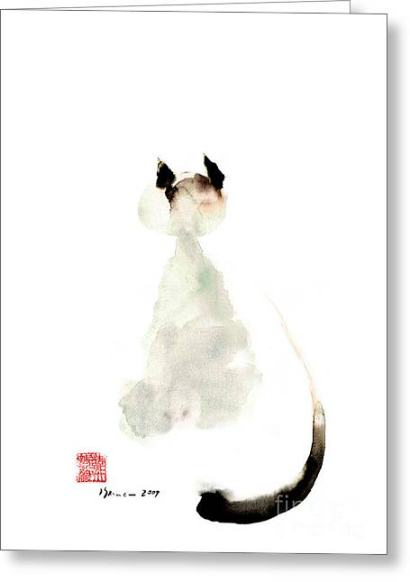 Meow Curious Cute Kitten Little Cat Watercolor Painting Funny Cats Greeting Card by Mariusz Szmerdt