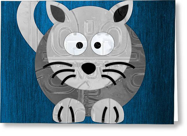 Meow The Cat License Plate Art Greeting Card by Design Turnpike
