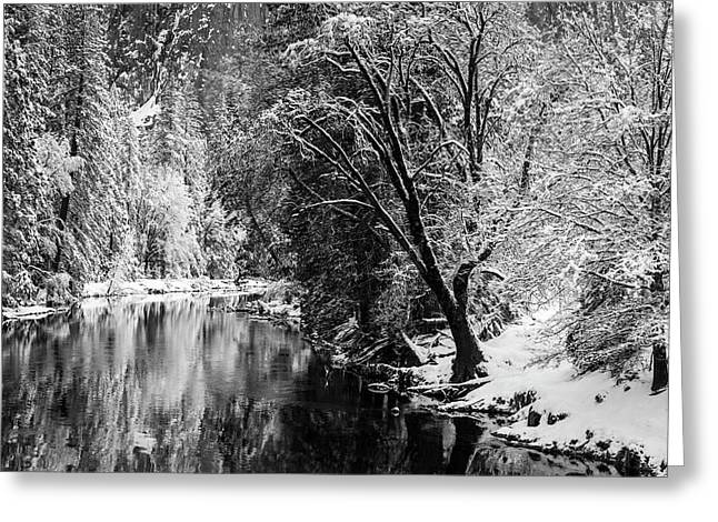 Merced River And Cathedral Rock Greeting Card