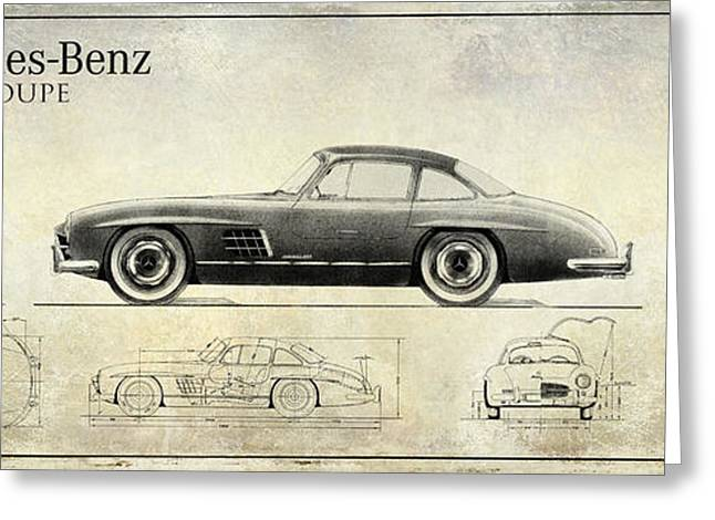 Mercedes 300sl Blueprint Drawing A Greeting Card