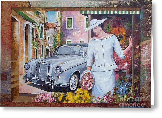 Mercedes-benz 220 S Cabriolet Greeting Card by Sinisa Saratlic