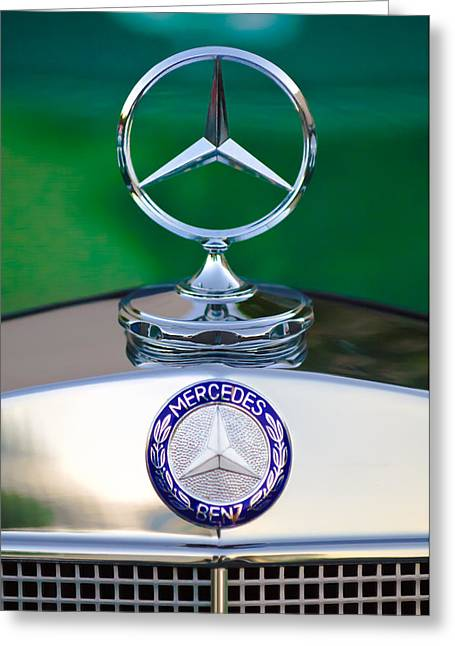 Mercedes Benz Hood Ornament 3 Greeting Card by Jill Reger