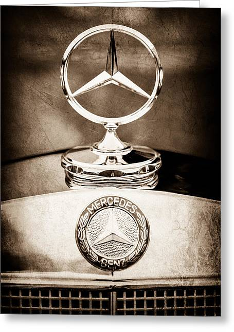 Mercedes-benz Hood Ornament - Emblem Greeting Card by Jill Reger