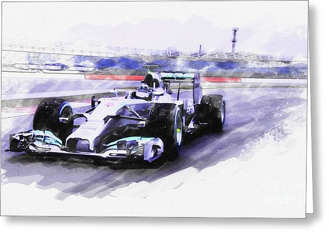 Mercedes F1 W05 Greeting Card by Roger Lighterness