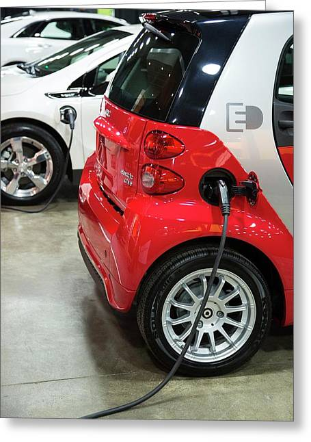 Mercedes Smart Electric Car Greeting Card by Jim West