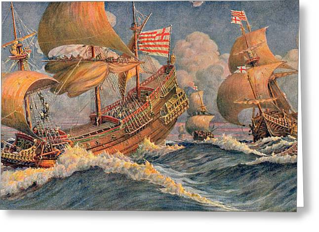Merchant Ships Of 1640 Greeting Card by Robert Morton Nance