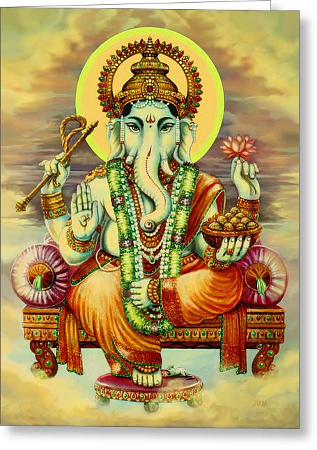 Merciful ganesha painting by svahha devi greeting card m4hsunfo