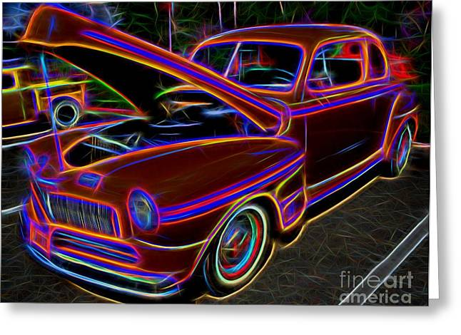 Mercury 8 Classic Car - Neon Greeting Card by Gary Whitton
