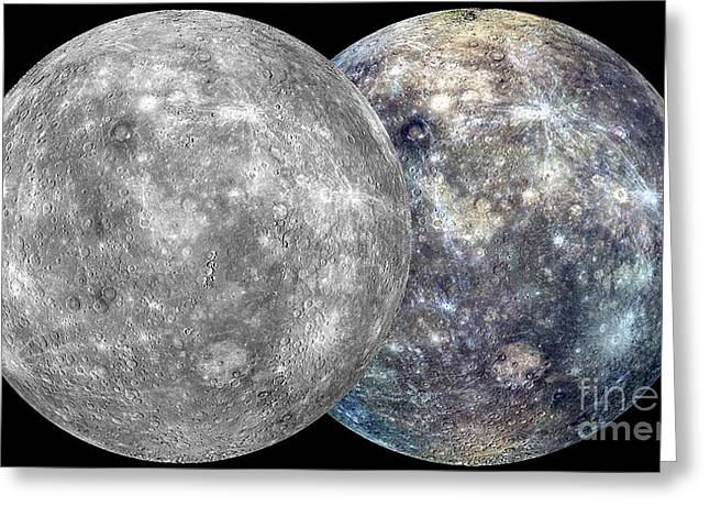 Mercury Hemispheres, Messenger Images Greeting Card by Nasa