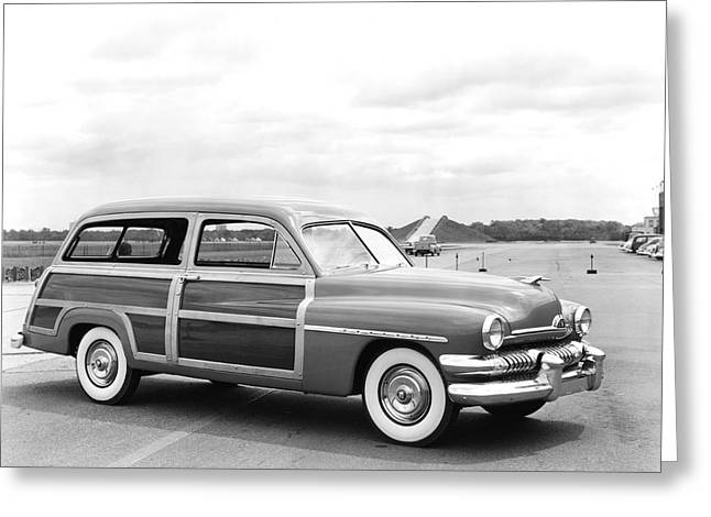 Mercury Woody Station Wagon Greeting Card by Underwood Archives