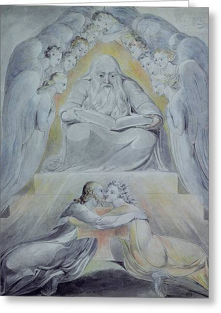 Mercy And Truth Are Met Together, Righteousness And Peace Have Kissed Each Other Greeting Card by William Blake