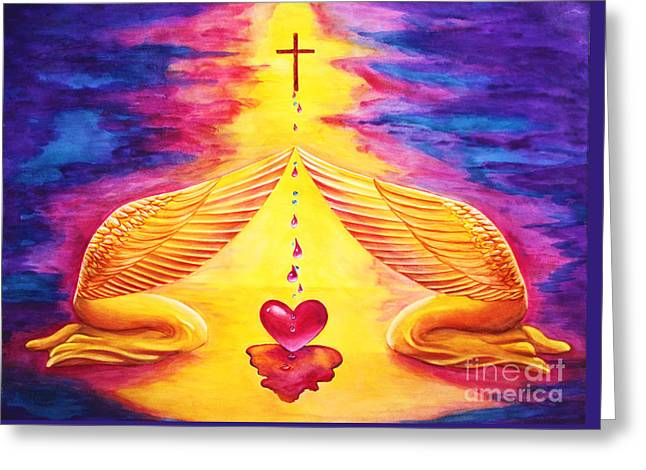 Greeting Card featuring the painting Mercy by Nancy Cupp