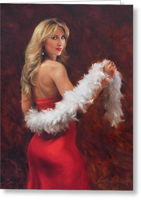 Meri In Red Greeting Card by Anna Rose Bain