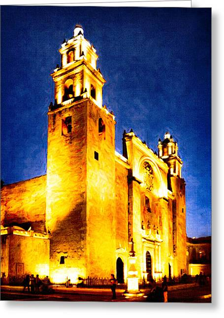 Merida Cathedral Glowing At Night Greeting Card by Mark Tisdale