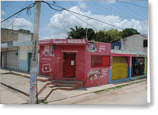 Merida Mexico Street Corner Greeting Card by Robert  Moss