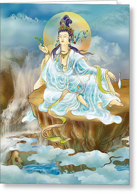 Greeting Card featuring the photograph Merit King Kuan Yin by Lanjee Chee
