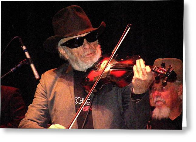 Merle Haggard Playing Fiddle Greeting Card by Kelly Mac Neill