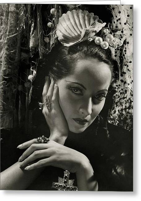 Merle Oberon Wearing A Headdress Greeting Card by Cecil Beaton